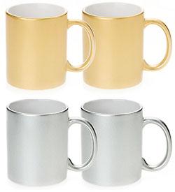 55119b6b468 Metallic Sublimatable Mugs Silver & Gold Ready Sublimation Printing