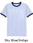 Vapor Apparel Mens Ringer Short Sleeve T Shirt - Sky Blue Indigo