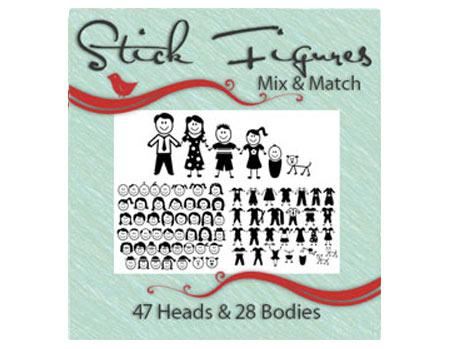 Vinyl Ready Designs Stick Figures - Mix and Match- 47 heads, 28 bodies