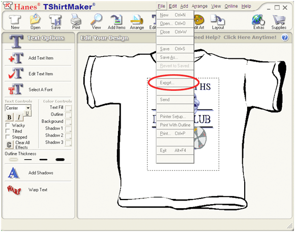 Hanes t shirt maker exporting designs to other programs for T shirt printing design software